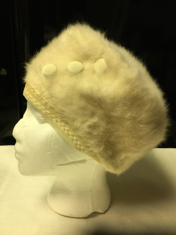 Vintage 1960/'s Kangol mohair beret hat with pom pom