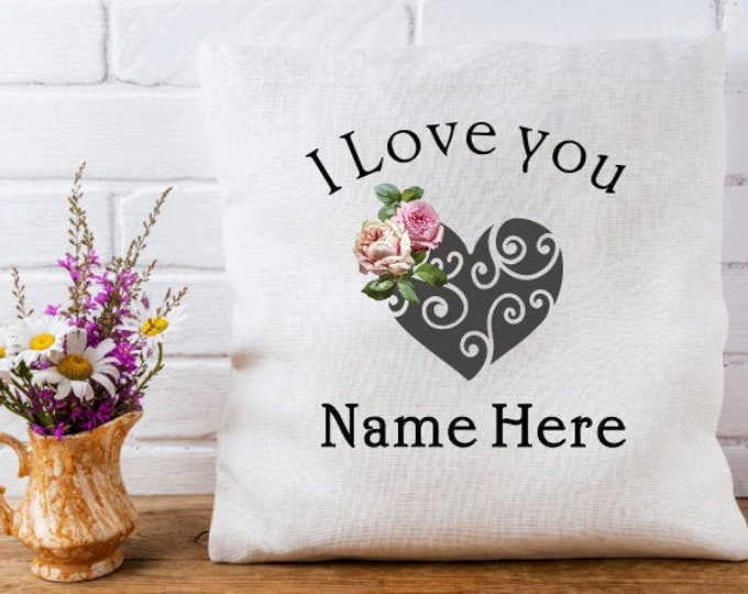 Personalized Gifts Personalized Heart Linen Cushion Cover Heart and Roses Pillow Cover Personalized French Farmhouse Pillow Covers