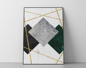 DIY Minimalist Modern Wall Decor Instant Download Abstract Golden and Off-White Printable Poster Art Deco Gold Marble Digital Art Print