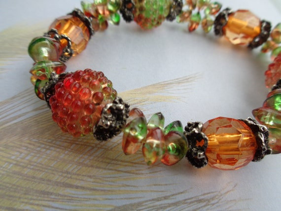 Pretty Vintage Colorful Bracelet  Glass Plastic me