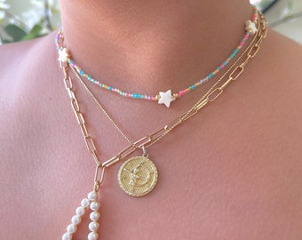 Dainty Mother of pearl beaded necklace, Summer boho beachy jewelry, Pastel Beaded necklace