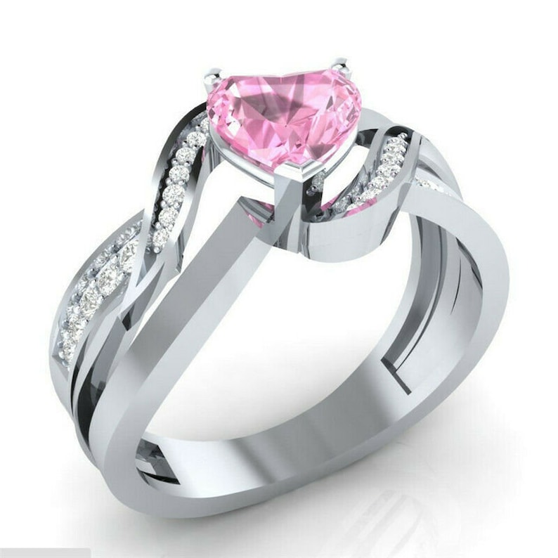 Women/'s Ring with White Lab Sapphires and Pink Heart Lab Sapphires Size 10