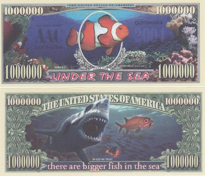 3 x 1 Million Fake Dollar Under the Sea