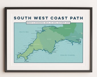 South West Coast Path Personalised Art Print: Custom Gift for Hikers or Walkers. Trail Map, Map Print, Map Art, Coastal Wall Art, A4, A3, A2