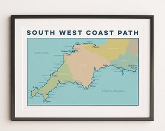 South West Coast Path Art Print: Trail Map Wall Art with national trail. Map Art, Map Print, Map Gift for Walkers or Hikers in A4, A3, A2