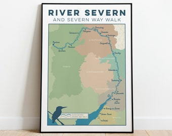 River Severn Art Print with Severn Way Walk. Severn Wall Art, Trail Map Art, Map Print, Map Gift for Walkers, Hikers, Walking in A4, A3, A2