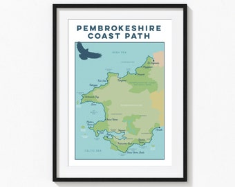 Pembrokeshire Coast Path Art Print: Trail Map Wall Art with national trail. Wales Map, Wales Art, Map Print, Map Gift for Walkers A4, A3, A2