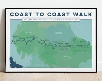 Personalised Coast to Coast Art Print: Wainwright's Coast to Coast Walk Custom Map Print, Illustrated Map Art, Art Gift for Hikers, A4 A3 A2