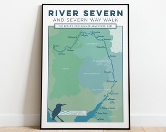 Personalised Art Print of River Severn and Severn Way Walk. Custom Wall Art, Map Art, Trail Map Print, Gift for Walker or Hiker. A4, A3, A2