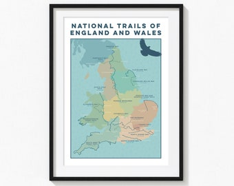 National Trail Map Print: Wall Art Print of Hiking Trails, England Map and Wales Map. Map Art Gift for Walkers; Gift for Hikers. A4, A3, A2