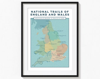 Personalised Map Print: National Trails of England and Wales Wall Art Print. Trail Map Print, Custom Map Art Gift for Walkers. A4, A3, A2
