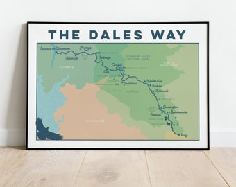 Dales Way Art Print: Yorkshire Dales Way Wall Art, Dales Way Walk Map Print, Illustrated Map Art, Map Gift for Hikers, Trail Map A5 A4 A3 A2