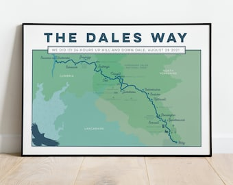 Personalised Dales Way Art Print: Yorkshire Dales Way Wall Art Custom Map Print, Illustrated Map Art, Trail Map Gift for Hikers, A4 A3 A2