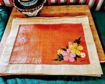 Vintage Woven Hand Painted Floral Pattern Place Mats Set of Four Boho Shabby Decor