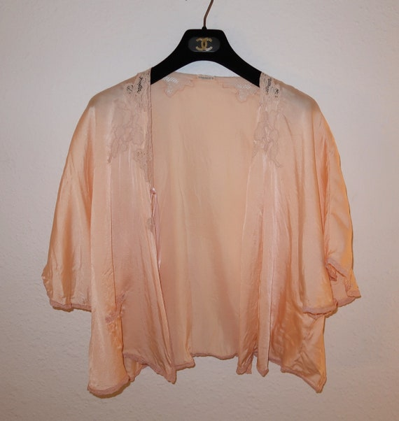 1940's silk and lace bed jacket