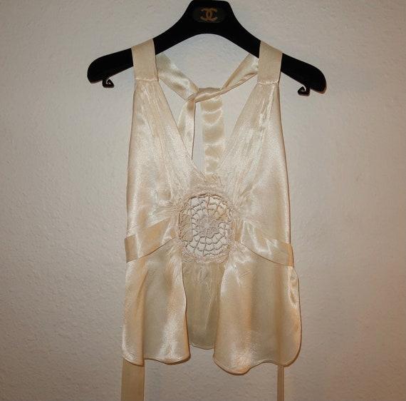 1970's silky open back halter top