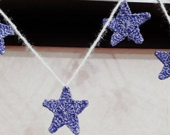 Christmas star garland blue. Christmas mantle garland. Shiny Christmas home decor