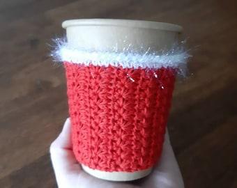 Cozy cup Christmas. Santa style cup cozy. Eco Friendly Reusable Christmas coffee cup decor