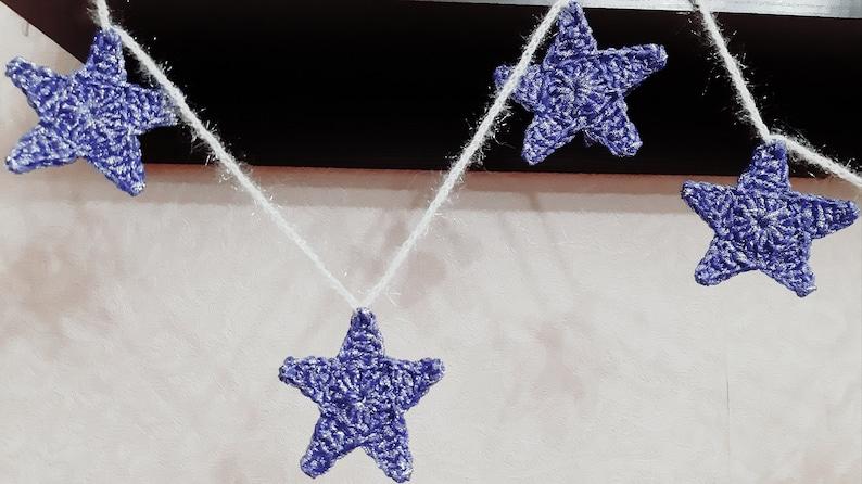 Christmas star garland blue. Christmas mantle garland. Shiny image 1