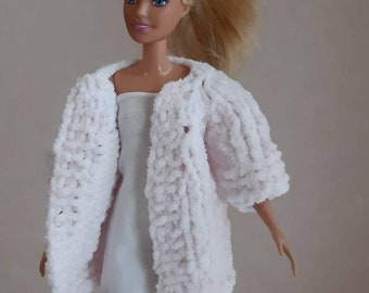 """Pink knit cardigan for Barbie doll, Fluffy coat for Barbie doll Regular and Curvy, Fall-winter knitted clothes handmade for 11-12"""" dolls"""