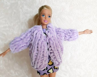 """Chunky knit cardigan for Barbie doll Fashionistas, Fluffy jacket for Barbie Blythe dolls collector fall-winter knitted clothes for 12"""" dolls"""