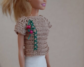 Cherry shirt Barbie doll, Beige embroidered top for dolls, Fashion knitted clothes for 11.5 inch dolls