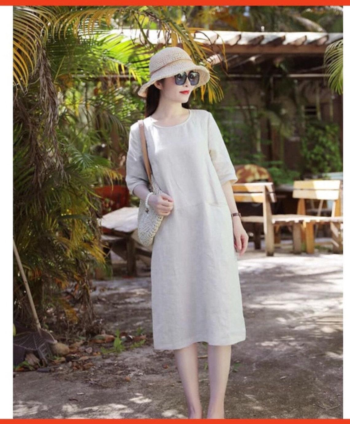 Linen dress / Summer dress / Simple linen dress / Tank top