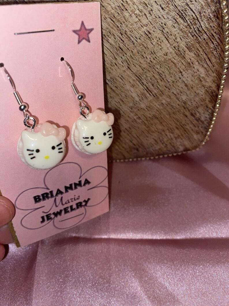 Aesthetic Handmade Hello Kitty Macaroon Earrings
