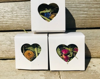 Trio of Floral Forage Heart Boxes