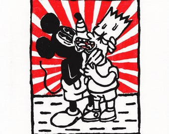 Bart Simpson and Mickey Mouse queer linoprint