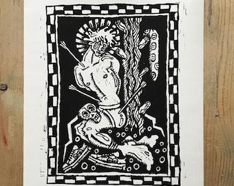 Saint Sebastian linocut