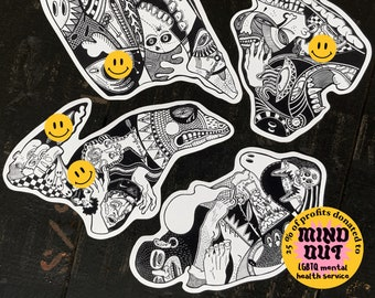 Find the hidden abjects (Four stickers of beasts, kinks and other sights of frenzy and delight) // Queer stickers // MATURE