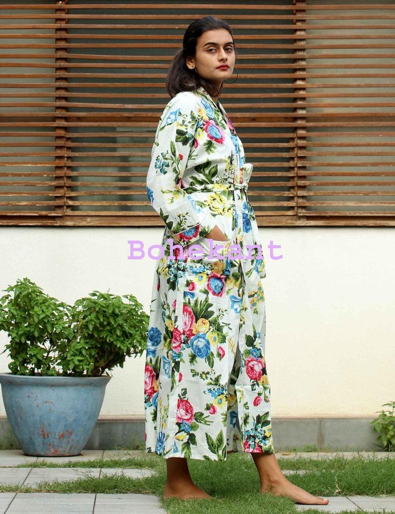 Japanese kimono style robe multi colored Kaftan 100/% cotton Jaipuri Kimono Robe free shipping Handmade Indian Printed Cotton Kimono