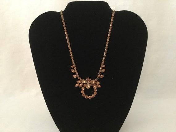 Sherman Topaz Rhinestone Necklace