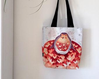 Tote bag - Robin little bird in love