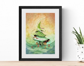 Ninja and the Pine Tree with Fish - Numbered print decorated with gold watercolours