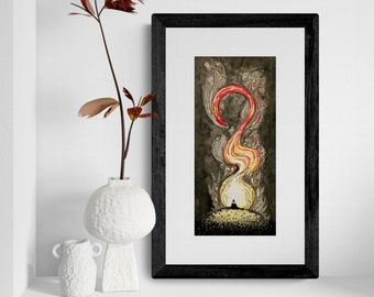 Ninja and the phoenix - limited edition print for home decor with passion and power