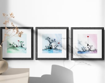 The ninja with his heart on a leash - Limited edition numbered print triptych