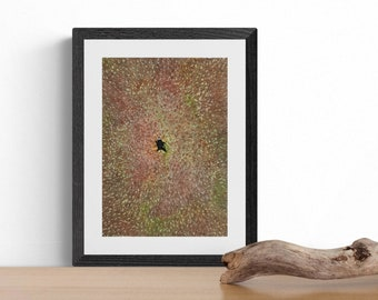Ninja rolls in autumn leaves - numbered print hand-decorated with gold watercolour