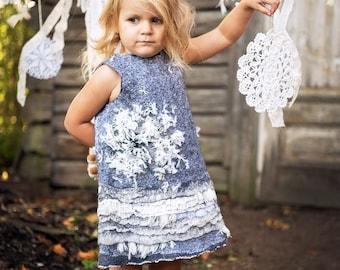 Felted boho  girls dress handmade toddler girls clothes