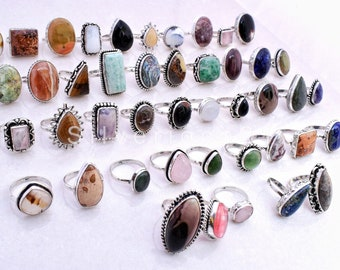 """Amazonite, Rhodonite Natural Multi Gemstone Ring, Wholesale Lot Mix Shape ALL US Size 6"""" to 10"""",Gemstone 925 Silver Plated Ring Jewelry"""