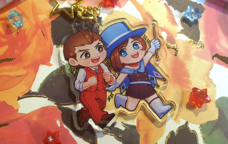 Apollo Justice and Trucy Wright Ace Attorney acrylic charm keychain