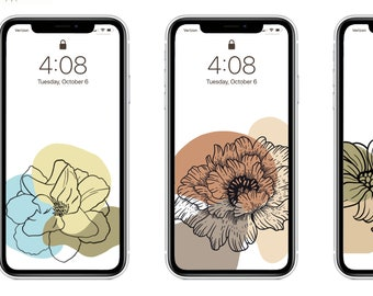 Floral Stamp Digital iPhone/Android Wallpaper - 5 Pack