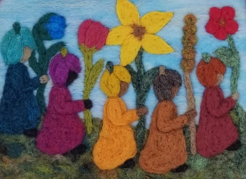 wool picture needle felted picture wool painting waldorf art Flower children wool art