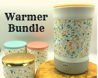 Soy Wax Warmer Signature Set Lot   Wax Melt   Flameless Electric Plug in   Decorative Ceramic Jar