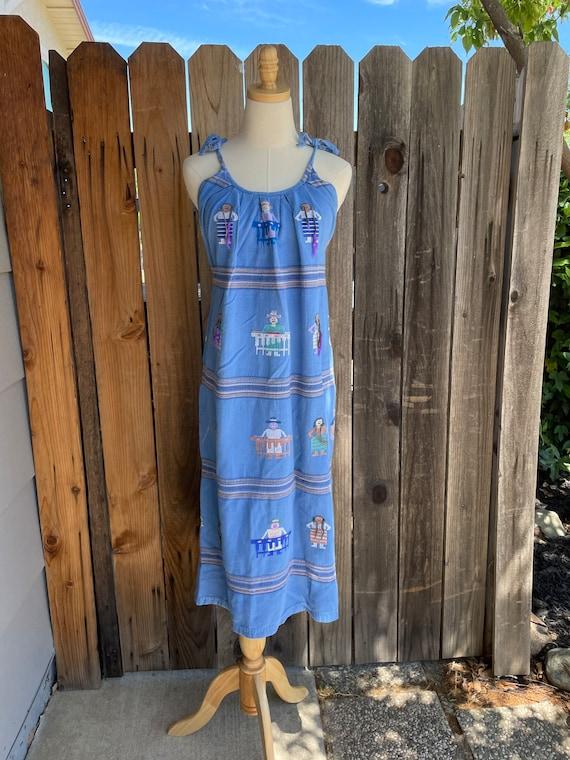 Vintage Guatemalan Folk Embroidered Dress