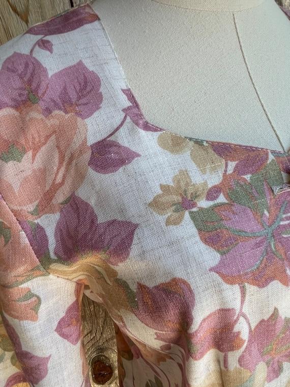 Vintage 1980s Timing Fashion Floral Linen Top - image 6