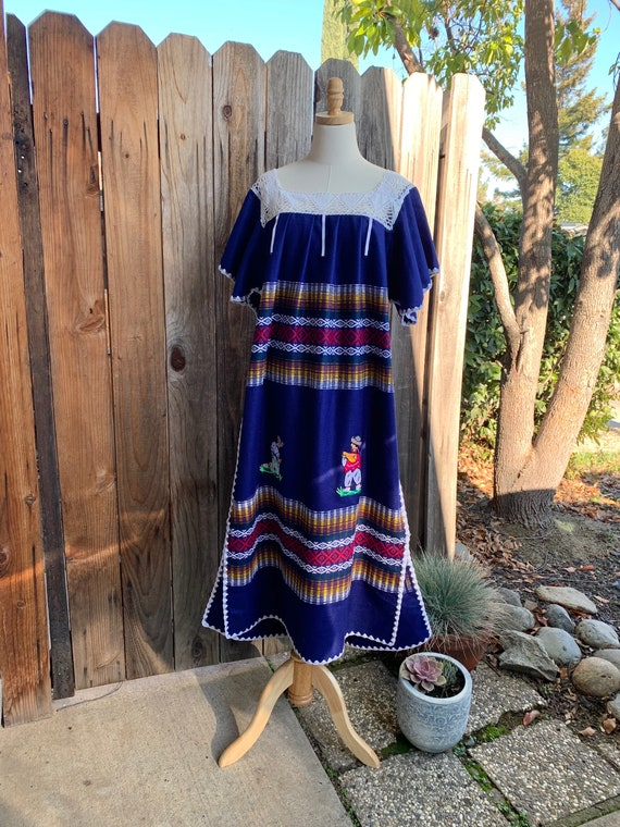 Vintage Handmade Embroidered Folk Dress