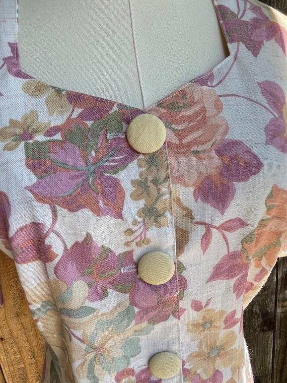 Vintage 1980s Timing Fashion Floral Linen Top - image 4