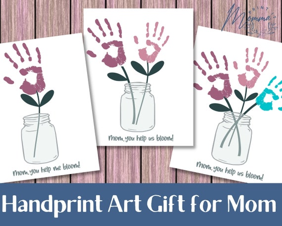 Mother's Day Flowers Gift From Kids printable  Handprint